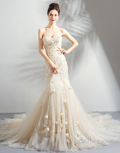 Long Mermaid Sweetheart Wedding Dress with Appliques