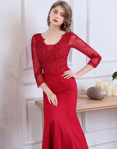 Long Mermaid Red Evening Dress with Appliques