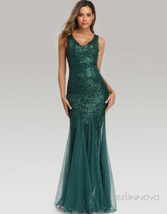 Long Mermaid Green Evening Dress with Sequins
