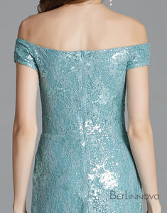 Blue Long Sequins Prom Dress with Split