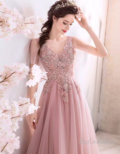 Pink Chiffon A-Line Long Wedding Party Dress with Appliques