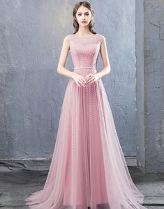 Long A-Line Round Neck Evening Dress with Beading