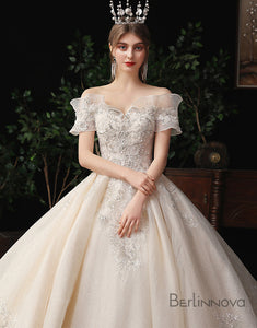 A-Line Off-the-Shoulder Wedding Dress with Sequins and Beading