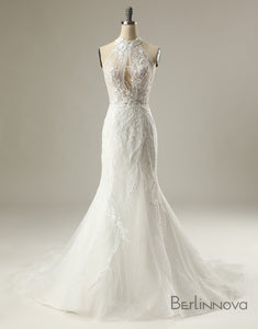 Mermaid Sleeveless Appliques High Collar Wedding Dress