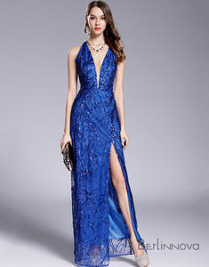 Sheath Long V-Neck Sequins Prom Dress with Split