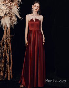 A-Line Burgundy Strapless Long Satin Evening Dress