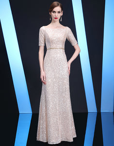 Sheath Champagne Long Evening Dress with Sequins