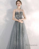 A-line Strapless Starlight Princess Grey Prom Dress Long Evening Dress