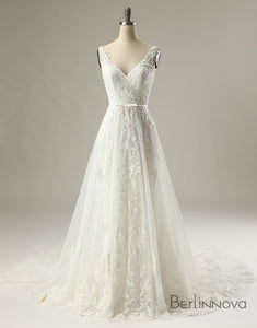 V -Neck Sleeveless Applique Backless Wedding Dress
