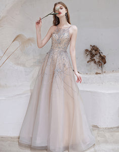 Gorgeous A-line Prom Dress Pearl Long Evening Dress