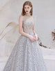 A-line Spaghetti Straps Prom Dress Long Decorative Pattern Evening Dress