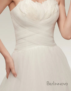 Sweetheart Feather Sweeping Train White Wedding Dress