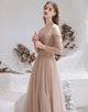 A-line Strapless Champagne Prom Dress Starlight Long Evening Dress