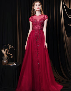 Fabulous Scoop Glitter Red Prom Dress Short Sleeves Pearl Evening Dress
