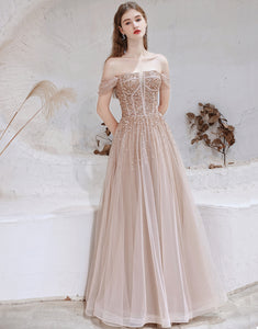 A-line Strapless Starlight Princess Champagne Prom Dress Long Evening Dress