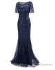 Glitter Navy Blue Sequin Formal Dress Long Prom Dress