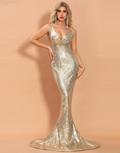Glitter V-Neck Mermaid Prom Dress Evening Dress