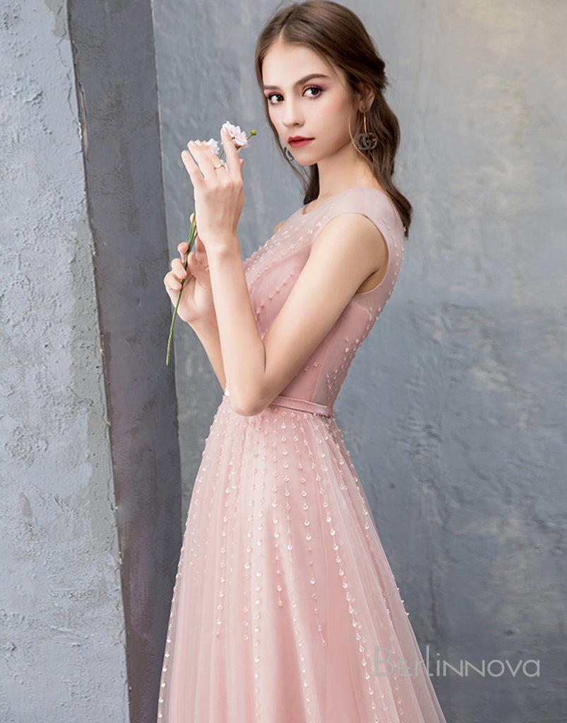 Champagne Satin Long Prom Evening Dresses Sweetheart with Split Front Appliques-Prom Dresses-Berlinnova