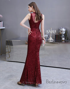 Glitter Mermaid Prom Dress Long Sequin Evening Dress