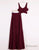 Two Piece Prom Dresses A-line Floor-length Burgundy Chiffon Prom Dress