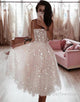 A Line Spaghetti Strap Tea Length Pearl Pink Tulle Prom Homecoming Dress