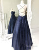 Long Navy Blue Sequin Prom Dress