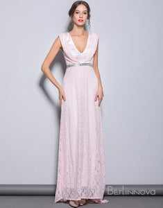 Sheath V-Neck Pink Long Prom Dress with Lace