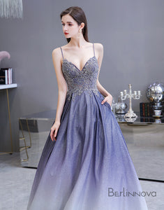 A-line Spaghetti Straps Prom Dress Long Lavender Sequins Evening Dress