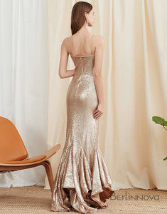 Champagne Long Mermaid Prom Dress with Sequins