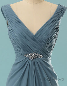 Simple Fashion Pleating Long Prom Dress Evening Dress