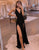 Simple Black Long Prom Dress Side Split Evening Dress
