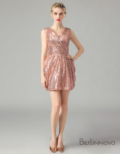 Sexy A-Line V-Neck Backless Short Pink Sequins Homecoming Dress