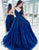 Blue Appliques Long Prom Dress Evening Dress