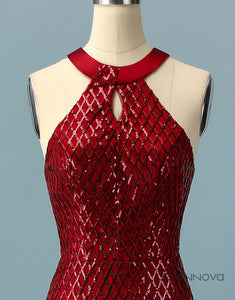 Glitter Red Halter Prom Dress Open Back Evening Dress
