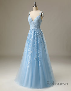 Light Blue Prom Dress Spaghetti Straps Long Evening Dress