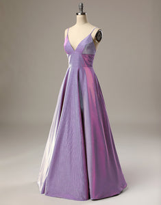 A Line Long Prom Dress Spaghetti Straps Lavender Evening Dress