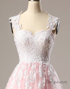 A-Line Open Back Multicolor Dip Dye Lace Wedding Dress