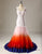 Mermaid Open Back Multicolor Dip Dye Lace Wedding Dress