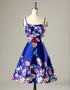 Sweet A-line Straps Short Printed Royal Blue Homecoming Dress