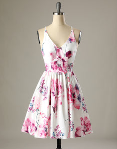 Short White Floral-Print Satin Homecoming Dress