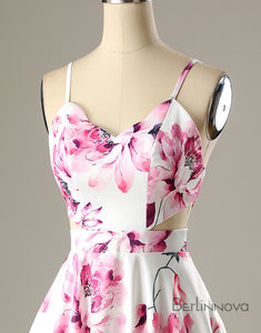 A-Line Straps Printed Short White Satin Homecoming Party Dress
