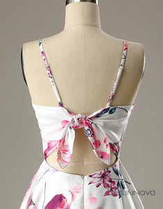Short Pink Floral-Print Satin Homecoming Dress