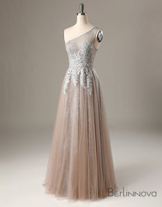 One Shoulder Long Grey Prom Dress Beaded Evening Dress