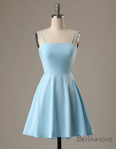 A-Line Spaghetti Straps Short Blue Satin Homecoming Dress