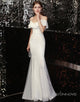 White Chiffon Wedding Party Dress Mermaid Long Evening Dress