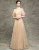 A-Line V-Neck Backless Champagne Long Prom Dress