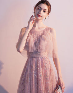 Pink A-Line Round-Neck Evenging Dress with Sequins