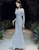 Silver Long Sleeveless Evening Dress
