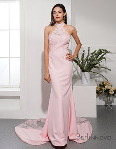 High-Neck Prom Dress Illusion Lace Train Evening Dress