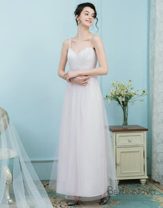 A-Line Spaghetti Straps Tulle Baby Pink Bridesmaid Dress with Lace